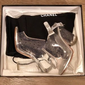 Chanel Transparent Silver Pvc CC Logo Sandals